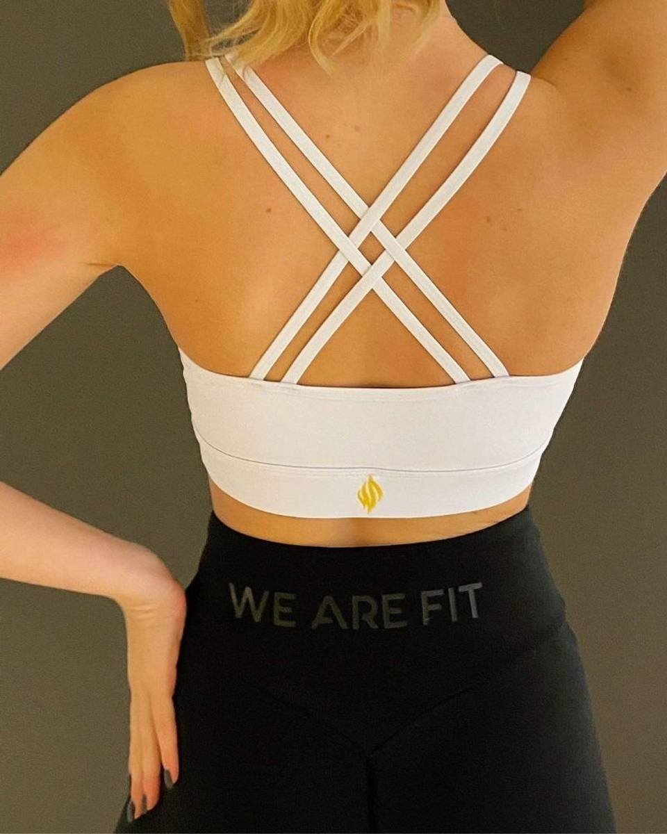 We Are Fit White Cross Bra
