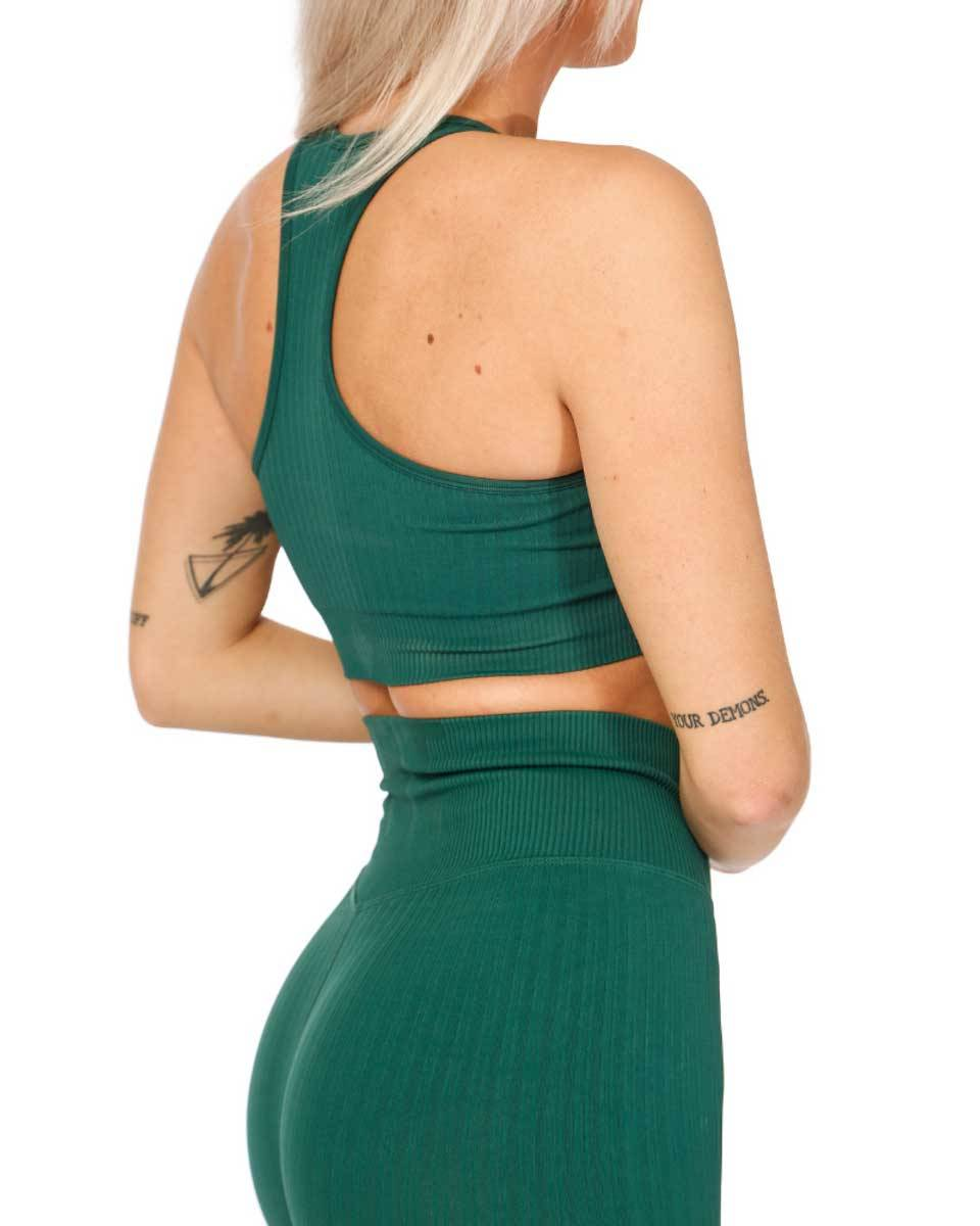 We Are Fit Bra Dark Green Ribbed Seamless