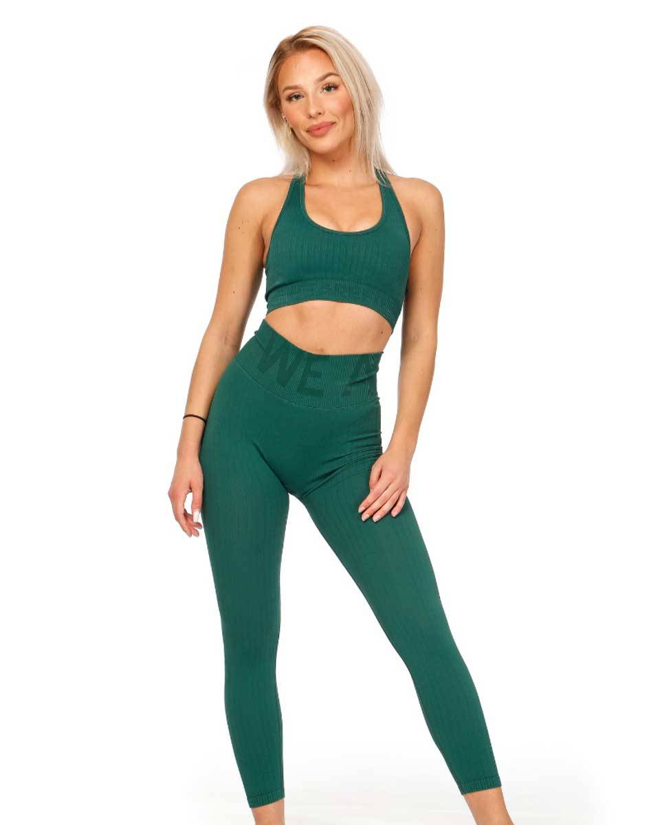 We Are Fit Dark Green Tights Ribbed Seamless