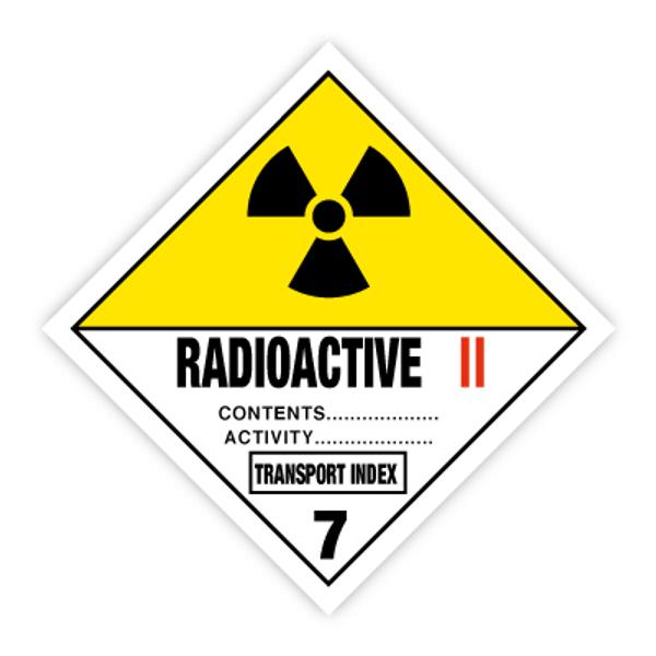 Fareseddel klasse 7B Radioaktivt materiale