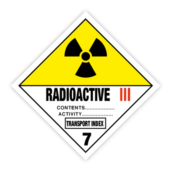 Fareseddel klasse 7C radioaktivt materiale