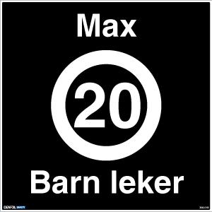Bilde av Barn leker skilt med tekst og fartsgrense symbol