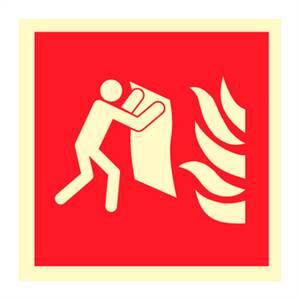 Bilde av Brannteppe - brannskilt med symbol