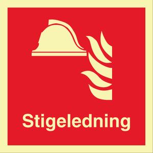 Bilde av Stigeledning - brannskilt med symbol og tekst