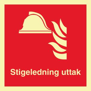 Bilde av Stigeledning uttak - brannskilt med symbol og tekst