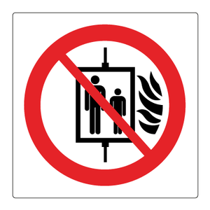 Bilde av Bruk ikke heisen i tilfelle brann - Forbudsskilt med symbol