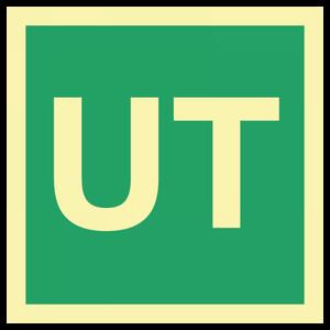 Bilde av Utgangsskilt i etterlysende plast med teksten UT