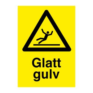 Bilde av Glatt gulv - fareskilt med symbol og tekst