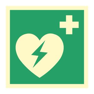 Bilde av Hjertestarterskilt i etterlysende plast eller vinyl