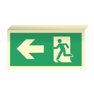 Bilde av Nødutgangsskilt for rømningsvei med pil venstre til takmontering