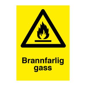 Bilde av Brannfarlig gass - Fareskilt med symbol og tekst