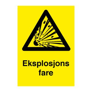 Bilde av Eksplosjonsfare - Fareskilt med symbol og tekst