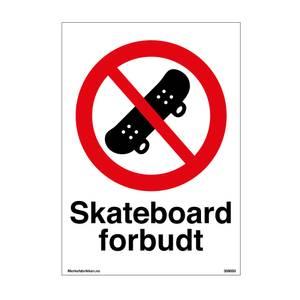 Bilde av Skateboard forbudt - Forbudsskilt med symbol og tekst