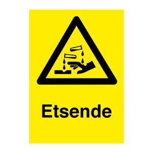 Bilde av Etsende - Fareskilt med symbol og tekst