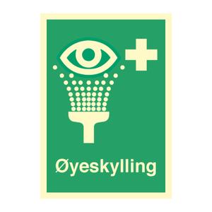 Bilde av Øyeskylling - førstehjelpsskilt med symbol og tekst