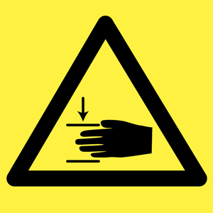 Bilde av Klemmerisiko, Fare for kvestelse av hånd - fareskilt med symbol