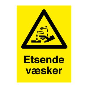 Bilde av Etsende væsker - fareskilt med symbol og tekst