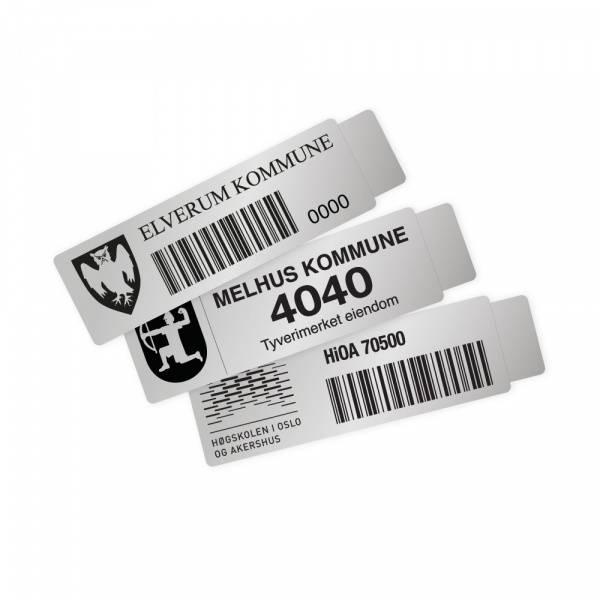 Merkeskilt i aluminium 50 x 15mm