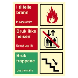 Bilde av Brannskilt - bruk ikke heisen - med symbol og tekst