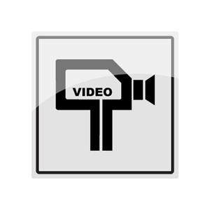 Bilde av Kameraovervåkning skilt med symbol i rustfritt stål - 150 x 150