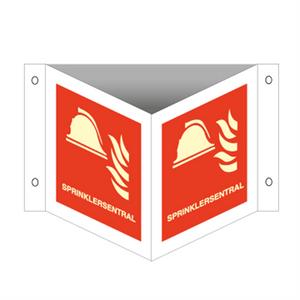 Bilde av Sprinklersentral - plogskilt med symbol og tekst