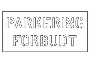 Bilde av Sjablong med teksten PARKERING FORBUDT