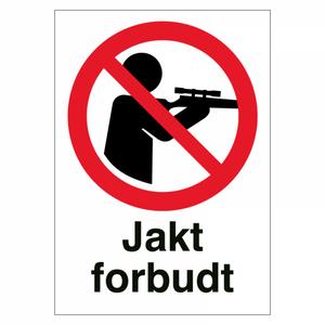 Bilde av Jakt forbudt - Forbudsskilt med symbol og tekst