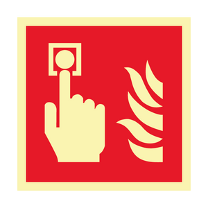 Bilde av Etterlysende brannskilt med symbol for brannalarm