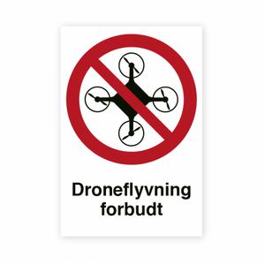 Bilde av Droneflyging forbudt - Forbudsskilt med symbol og tekst