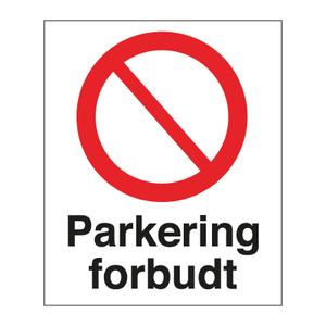 Bilde av Parkering forbudt skilt med symbol og tekst