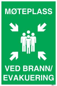 Bilde av Skilt med symbol og tekst for møteplass ved brann og evakuering