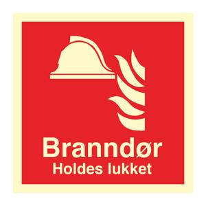 Bilde av Branndør holdes lukket - brannskilt med symbol og tekst