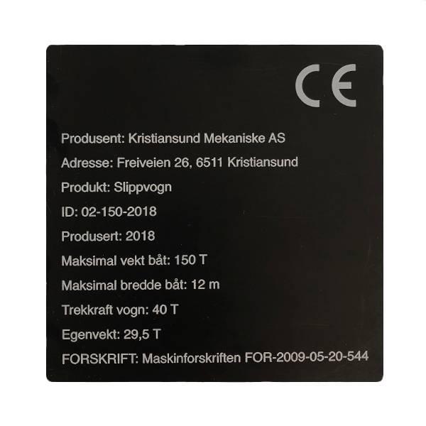 Maskinskilt - metallskilt for CE merking av maskiner