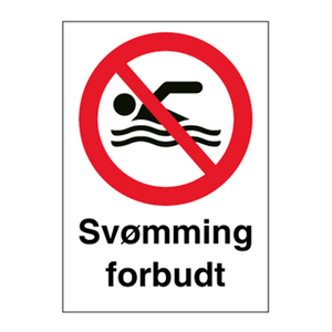 Bilde av Svømming forbudt - Forbudsskilt med symbol og tekst