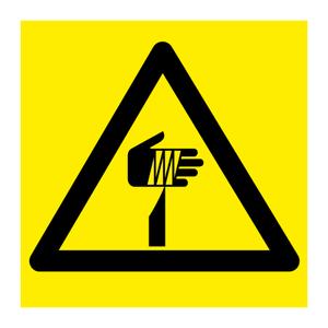 Bilde av Pass på fingrene - fareskilt med symbol
