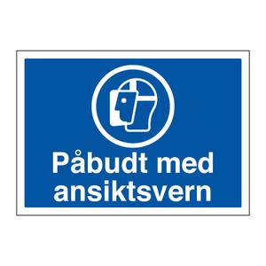 Bilde av Påbudt med ansiktsvern - Påbudsskilt med symbol og tekst