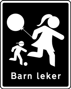 Bilde av Barn leker skilt med symbol og tekst