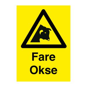 Bilde av Okse - Fareskilt med symbol og tekst