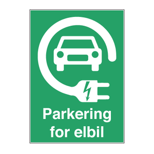 Bilde av Parkering for elbiler - Parkeringsskilt med symbol og tekst