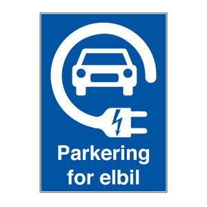 Bilde av Parkering for elbil - Parkeringsskilt med symbol og tekst
