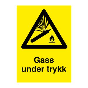 Bilde av Gass under trykk - Fareskilt med symbol og tekst
