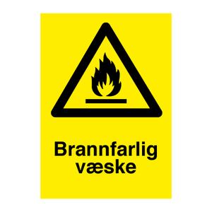 Bilde av Brannfarlig væske - Fareskilt med symbol og tekst