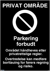 Bilde av Privat område parkering forbudt skilt