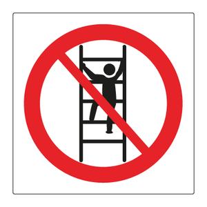 Bilde av Forbudt å klatre i reolene - Forbudsskilt med symbol