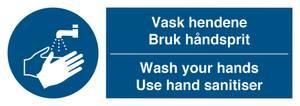 Bilde av Vask hendene / Bruk håndsprit - selvklebende vinyl 105x297mm