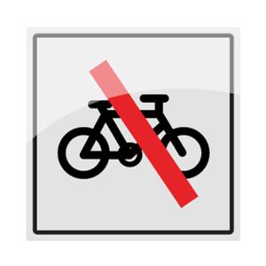 Bilde av Sykkel forbudt - symbol skilt i rustfritt stål - 150x150