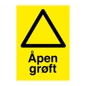Bilde av Åpen grøft - Fareskilt med symbol og tekst