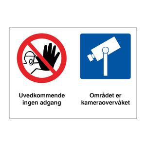Bilde av Adgang forbudt - kameraovervåket område kombinasjonsskilt