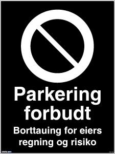 Bilde av Parkering forbudt - Privatrettslig skilt med symbol og tekst