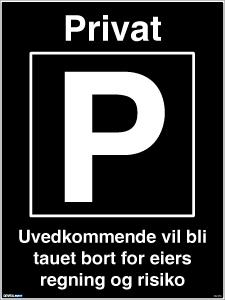 Bilde av Privatrettslig parkeringsskilt med symbol og tekst